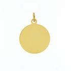 Gouden graveerplaatje geheel glad rond 18 mm