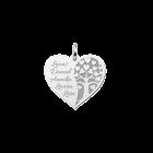 Zilveren hart hanger met levensboom en gratis gravures