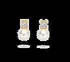 Gouden parel oorknopjes met zirkonia