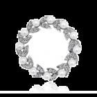 Chique echt zilveren Victoriaanse broche met bloemmotieven en parels