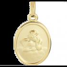 Gouden hanger met beschermengel, cupido ovaal.