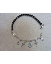 Religie armband zilver met steentjes, Maria, kruisje
