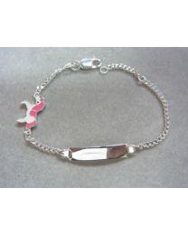 Zilveren naamplaat armbandje met Unicorn 15 cm.