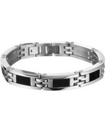 Stalen heren armband met rubber 21,5 cm.