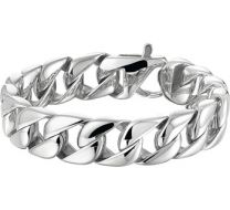 Grove gourmet schakel heren armband. Staal. 22 cm
