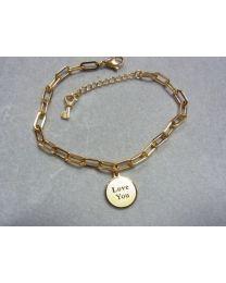 Goudkleurige schakel armband met bedel LoveYou
