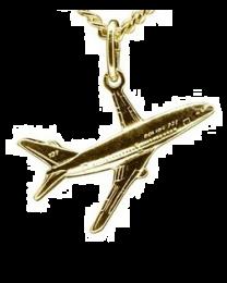 Boeing gouden vliegtuig hangertje.