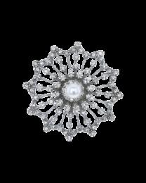 Zilveren broche met Swarovski kristallen en parel