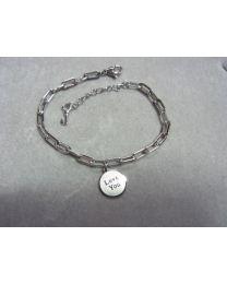 Zilverkleurige schakel armband met bedel Love You