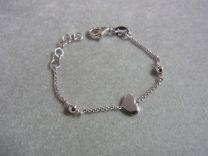 Echt Zilveren baby armbandje met hartje en bolletjes 9-11 cm
