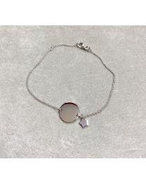 Zilveren armband met rond plaatje om te graveren met ster.