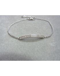 Smal zilveren armbandje met baan zirkonia steentjes