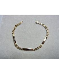 Gouden armband met 3 graveerplaatjes en Rolex schakel.