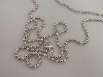 Geslepen bolletjes collier, 1,8 mm 80 cm. Zilver.