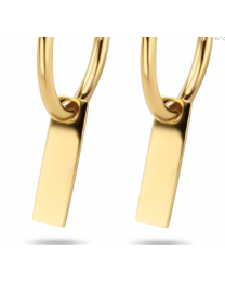 gouden creool oorring met gouden plaatje