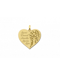 Gouden hart hanger met levensboom en gratis gravures