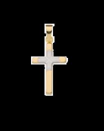 8 karaat kruis met witgouden middenstukje
