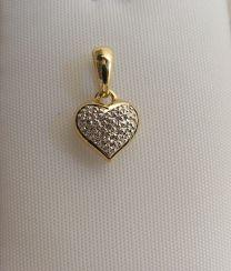 Bicolour gouden hartje met 1 briljantje
