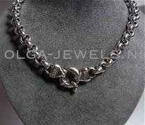 Jasseron collier geoxideerd zilver 10,5 mm 45 cm