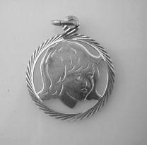 Kinderkopje zilver 16 mm meisje in rand