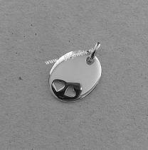 Ovaal graveerplaatje zilver met 2 hartjes