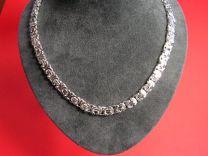 Platte Koningsketting zilver 6,4 mm 50 cm