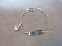 Plaat armbandje baby met roze hartje Naam armband zilver