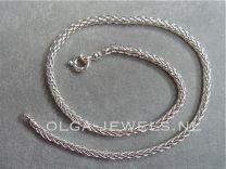 Vossenstaart zilveren ketting 4 mm 45 cm