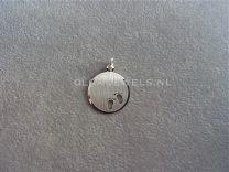 Plaatje rond om te graveren met babyvoetjes 16 mm