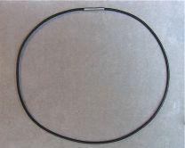 Rubber koord 2,5 mm met stalen sluiting 45 cm