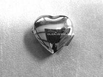 Hartje glad zilveren pillen of bewaar doosje 2,4 cm