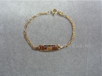9 karaat kinder naam armbandje figaro schakeltje 11 tot 13 cm.