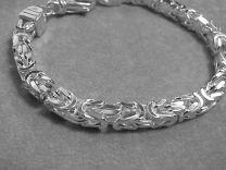 Konings schakel vierkant zilveren armband 6mm 21,5 cm