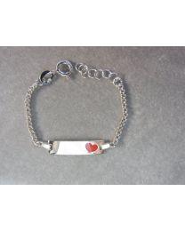 Plaat armband zilver baby met rood hartje op de plaat