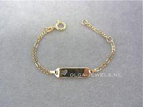 9 karaat Baby naam armband Figaro schakel met hartje