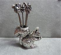 Cocktail prikkers Eekhoorn met houder.