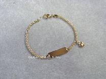 Goud plaatbandje met hartje naam armband 13 tot 14 cm anker schakeltje