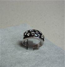 Band ring zwart met zirkonia