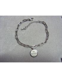 Zilverkleurige schakel armband met hanger BE STRONG