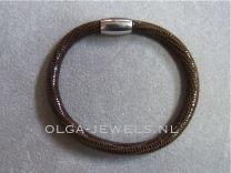 Armband Side, Leren band bruine slang
