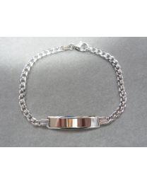 Zilveren dames heren naamplaat armband