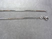 Witgouden collier. Model venetiaan 1 mm 45 cm.