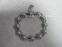 Armband Zeeuwse knop 10 mm donker zilver