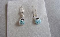 Zilveren Kinder oorhangers met blauw Lieveheersbeestje