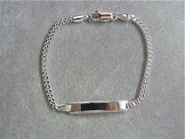 Naamplaat graveer armbandje zilver 16 cm