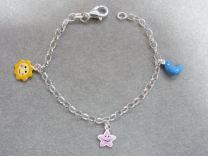 Lilly zilveren bedel armband met zon maan ster.