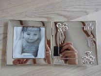 Verzilverde geboorte fotolijst met ruimte voor gravure.