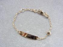 Gouden naamplaat armbandje met open schakeltje en hartje 11 tot 13 cm.