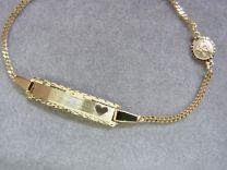 8 karaat peuter naamplaat armband met bescherm engeltje 12 tot 14 cm.