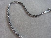 Koord armband 2,5 mm 19 cm. Donker zilver.